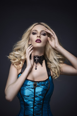 dressing up costume: Blond woman hair making a pose