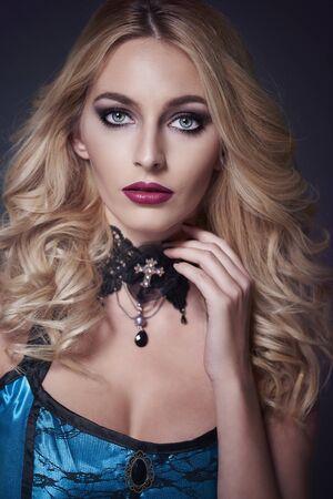 Gothic woman in dark clothing