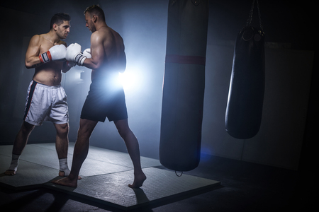 Two male boxing mates face to face