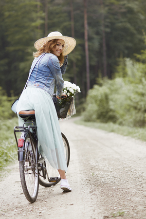 Portrait of woman during the cycling Stock Photo