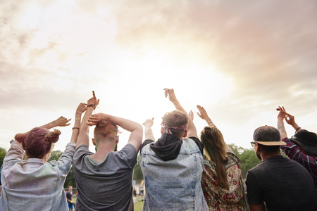 Beautiful sunset at the music festival 스톡 콘텐츠