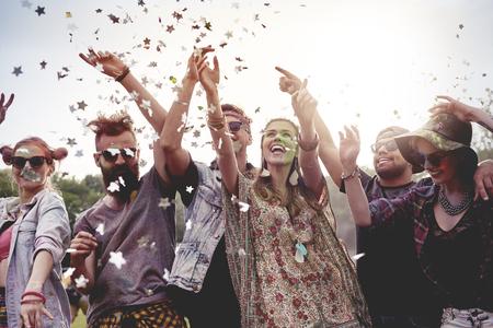 Celebrating festival on fresh air