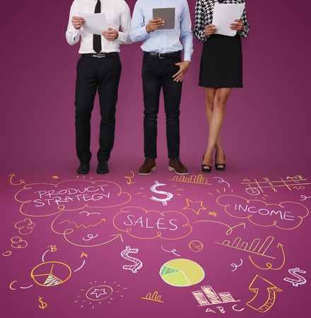 Two men and woman as office workers
