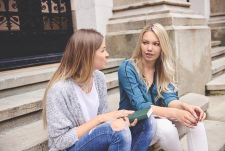 Students having a short break between lectures
