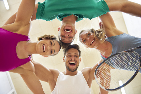 Lage hoekmening van squashspelers Stockfoto