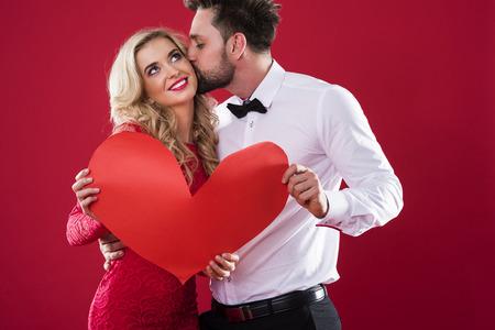 Big kiss from beloved boyfriend Stock Photo