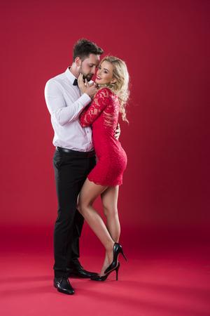 Man embracing his beloved girlfriend
