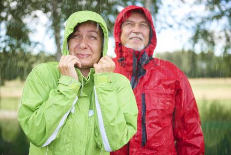 Regenachtige dag in het park Stockfoto
