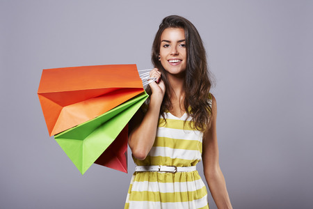 Close up of attractive woman after shopping