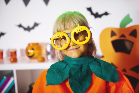 Small girl in funny glasses Stock fotó