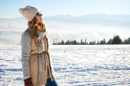 Woman looking at the mountain view