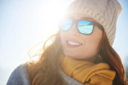 Close up of cheerful woman