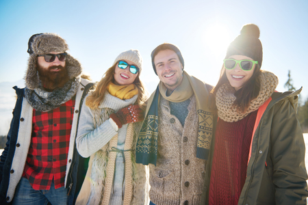 Portrait of group of four friends