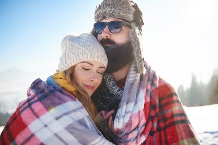 Woman feeling comfortable next to her man Stok Fotoğraf