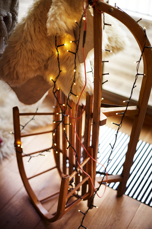 Wooden sleigh covered by Christmas lights