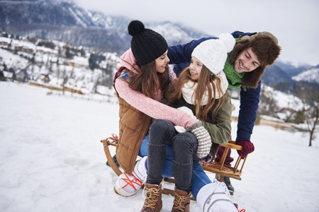 Snowy fun in the mountains  Stock Photo