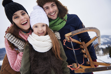 Parents with pretty daughter during holidays  Stock Photo