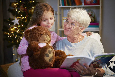 I love spending time with my grandmother and  teddy bear Banque d'images