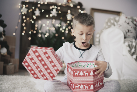 Boy opening christmas gift at home    Stock Photo