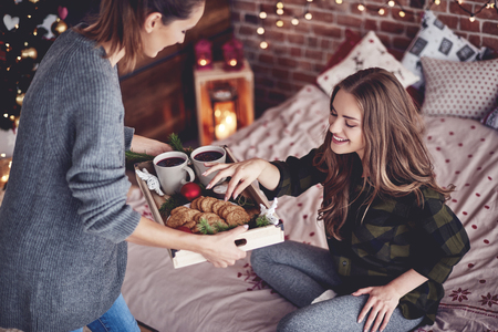 Girl sharing cookies and mulled wine with her friend Stock Photo