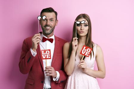写真ブース パーティーでカップルの肖像画 写真素材