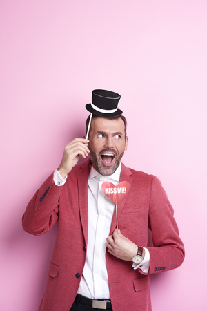 Exhilarated man with photo booth Stock fotó - 89588916