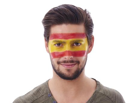 스튜디오 샷 남성 스페인 축구 팬의 샷 스톡 콘텐츠