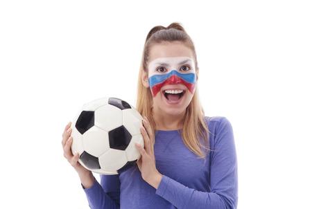 塗られた表面を持つ女性サッカーファンの肖像画 写真素材