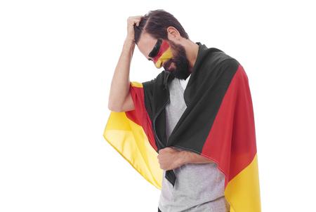 乱れた男性サッカーファンの肖像画 写真素材 - 92542242
