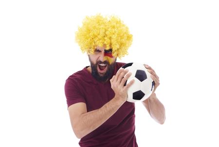 Ecstatic geraman fan with soccer ball