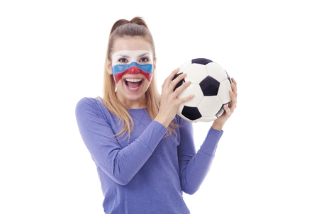 Russian soccer fan with soccer ball cheering