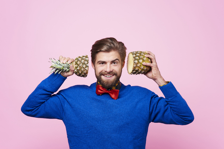 Front view of man  posing with fruit Stock fotó - 90303505