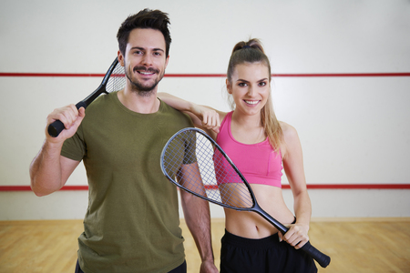 Shot of two squash players   Stock Photo