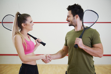 Squash player or tennis player congratulating each other Stock Photo