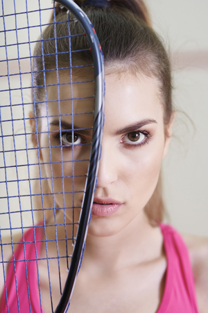 Portrait of squash player or tennis player
