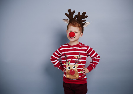 Portrait of boy in christmas costume  Stock Photo