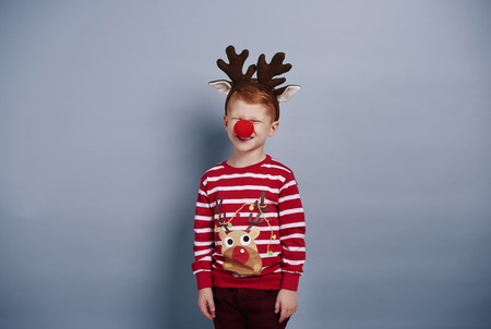 Boy in reindeer costume