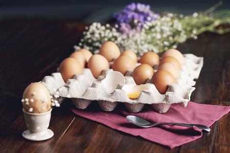 Shot of eggs in egg box