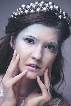 雪の女王の顔にクローズアップ 写真素材