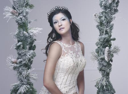 スタジオショットで雪の妖精の肖像画 写真素材