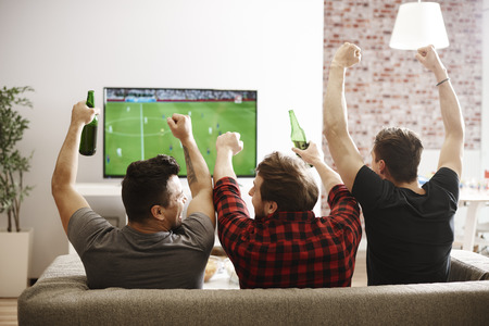 Rear view of men watching match and cheering