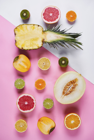 Halfs of various exotic fruits