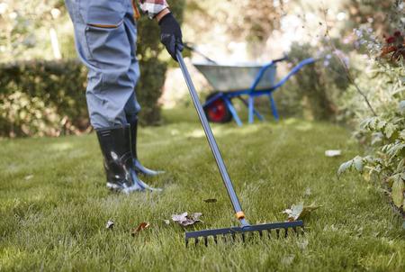 Nie do poznania mężczyzna grabienie liści w ogrodzie Zdjęcie Seryjne