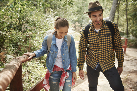 Young couple traveling with backpack