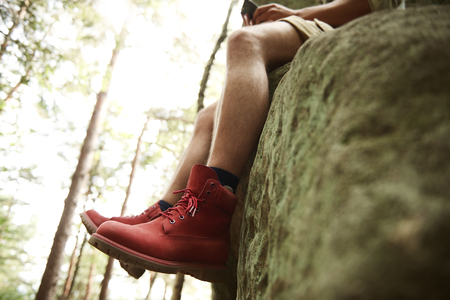 Side view of hikers legs Stock Photo