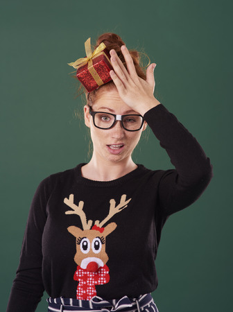 Disappointed woman in christmas time