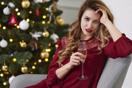 Charming woman with champagne flute Stock Photo