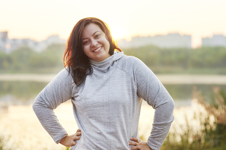 Morning running with good mood Stock Photo