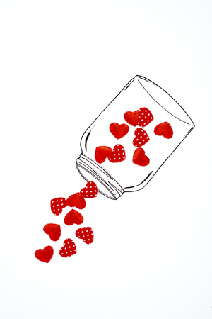 A jar of with hearts