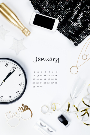 Calendar for January 2019 with white background Reklamní fotografie